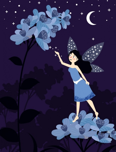 fairy painting tiny winged girl flower moonlight icons