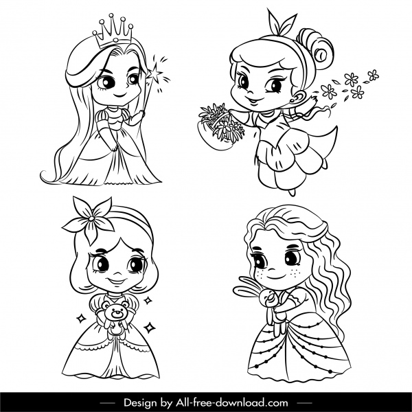 fairy tale icons cute girls sketch handdrawn cartoon