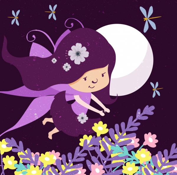 fairytale drawing flying girl moonlight flowers decoration