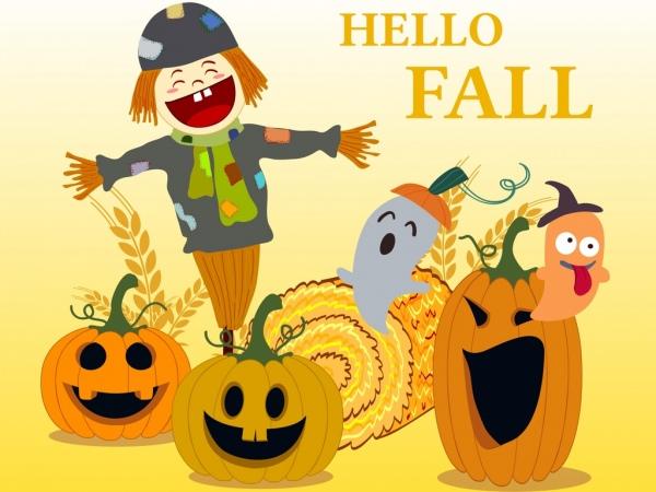 fall banner pumpkin ghost dummy icons