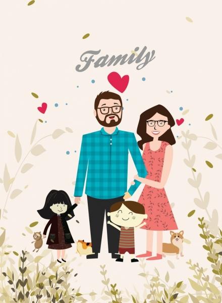 family background cute colored cartoon design