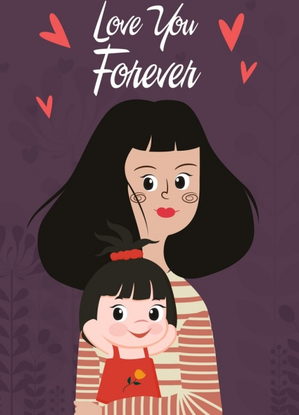 Family background mother daughter icons cartoon characters