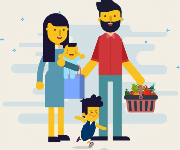 Family Background Parents Children Icons Cartoon Characters Free Vector In Adobe Illustrator Ai Ai Format Encapsulated Postscript Eps Eps Format Format For Free Download 2 67mb