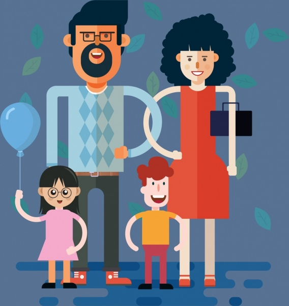 family background parents children icons cartoon characters