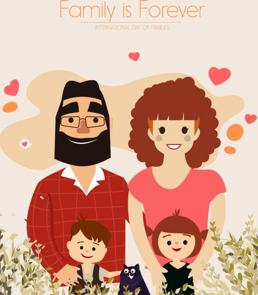 family banner parents children icons colored cartoon design