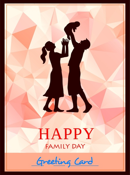 family day card silhouette style on diamond background