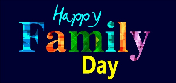 family day theme design with colorful words