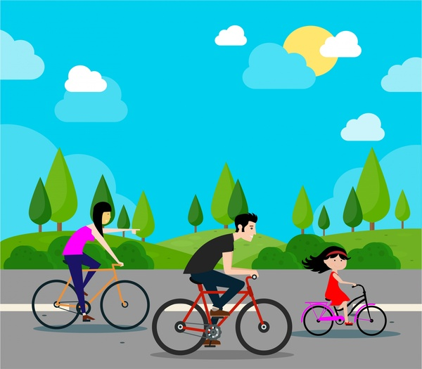 family happy vector illustration with bicycle riding activity