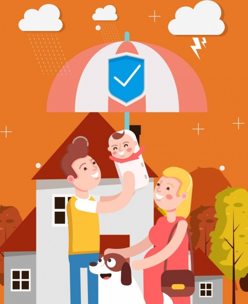 family protection background parents kid umbrella weather icons