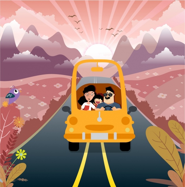 family vacation drawing outdoor landscape car icons