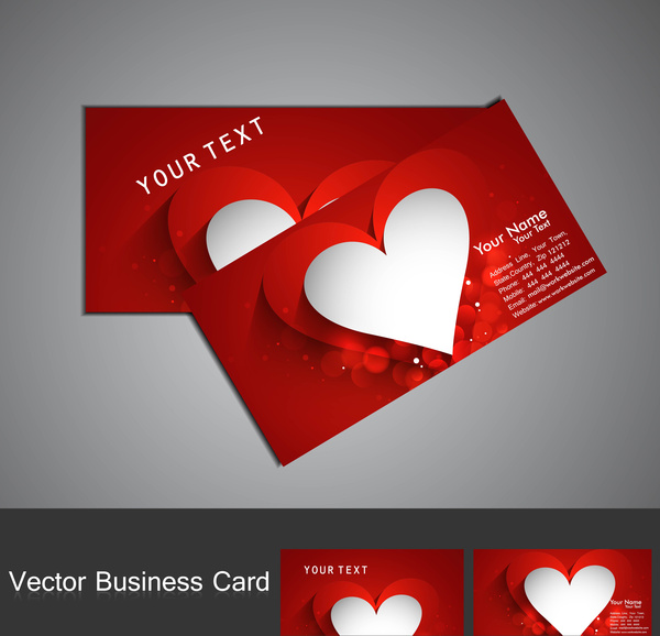Fantastic valentines day red colorful heart business card set free fantastic valentines day red colorful heart business card set colourmoves