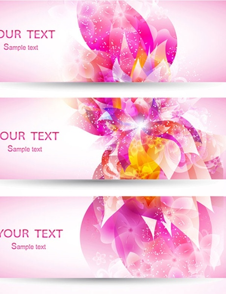 fantasy flowers background banner template vector 3