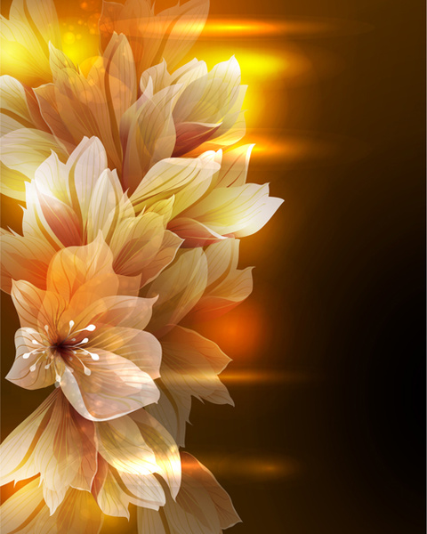 fantasy flowers shiny vector background