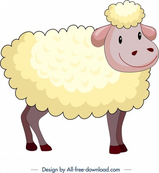 farm animal background sheep icon colored cartoon design