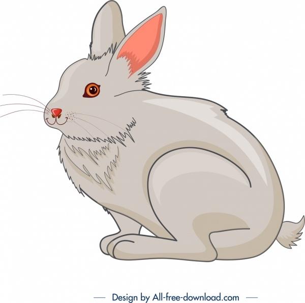 farm animal painting rabbit icon grey design