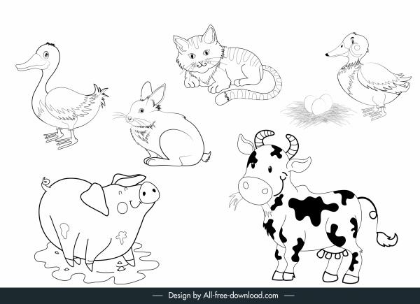 farm animals icons black white handdrawn sketch