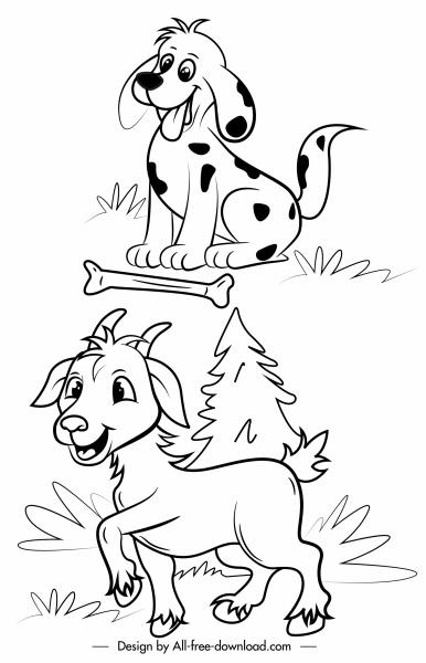 farm animals icons dog goat sketch handdrawn cartoon
