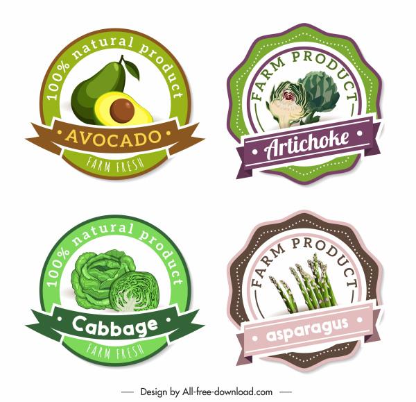 farm food labels artichoke avocado cabbage asparagus sketch