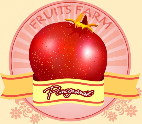 farm fruit logotype pomegranate icon ribbon decoration