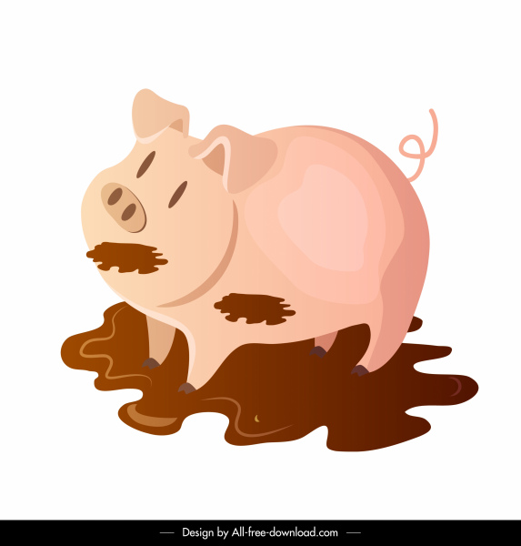 farm pig icon playful animal sketch cartoon design