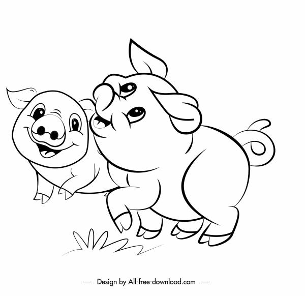farm pigs icons cute handdrawn cartoon sketch