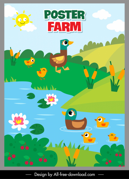 farm poster template poultry pond sketch colorful flat
