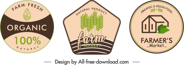 farm product badge template flat classical handdrawn decor