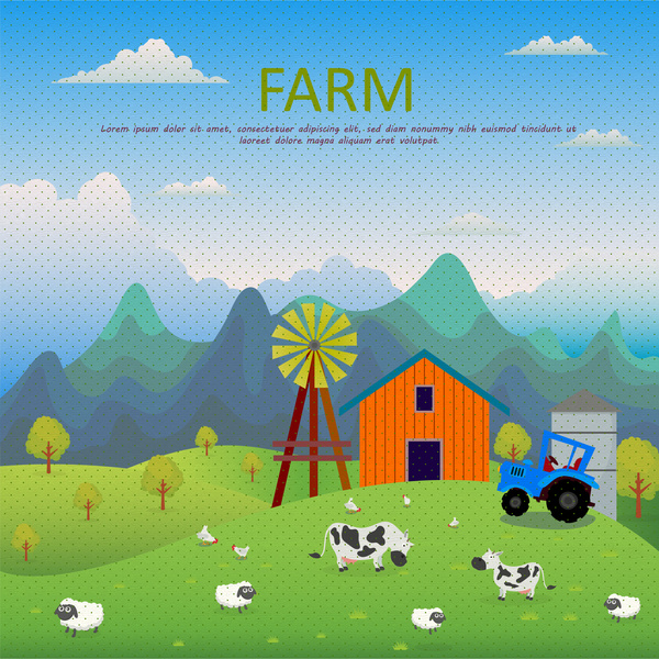 farm scenery vector illustration in colored style