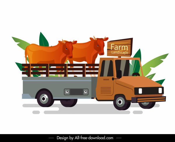 farm truck icon cow cattle sketch colorful classic
