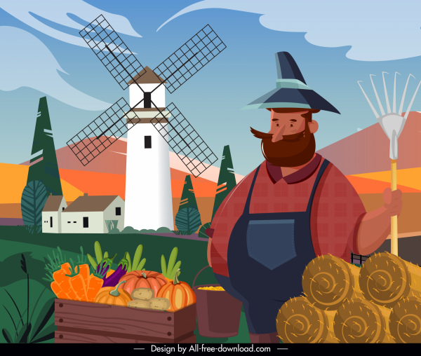 farm work painting farmer agriculture products cartoon sketch
