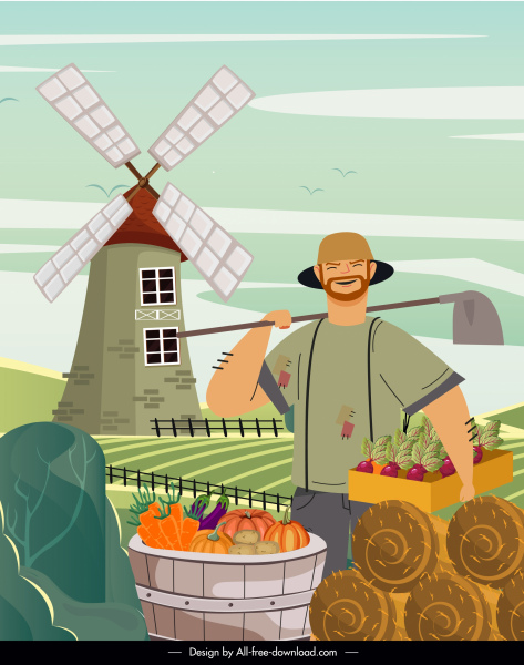 farm work painting happy farmer agriculture products sketch
