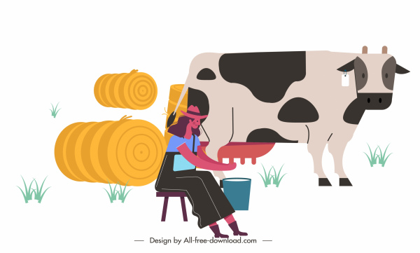farm work painting woman cow sketch cartoon design