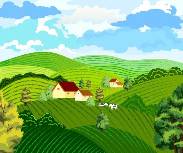farming background hill landscape design colored cartoon