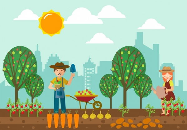 farming background human icons colored cartoon design