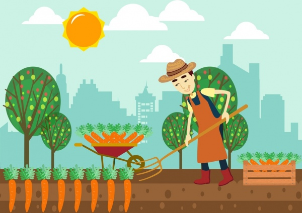 farming background male farmer carrot icons colored Art Apples Clip Corn Clip Art