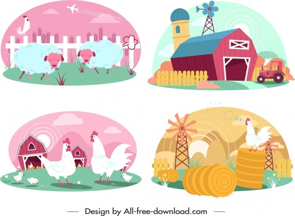 farming design elements cattle poultry warehouse icons