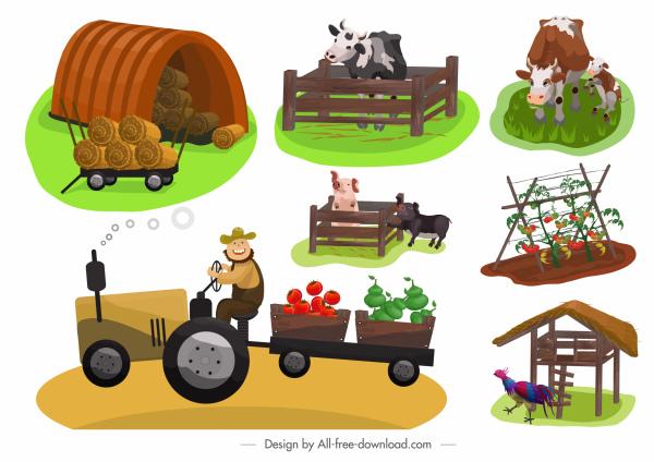 farming design elements colored cartoon sketch