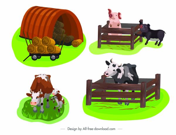 farming design elements pig cow straw sketch