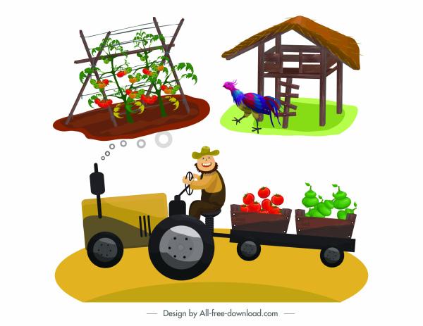 farming design elements poultry plant farmer sketch