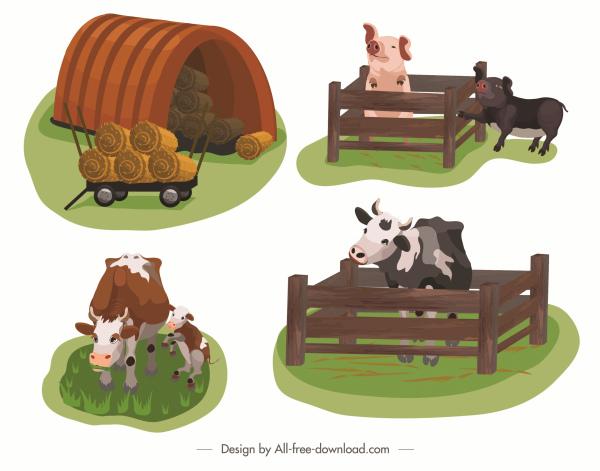 Farming icons cow pig straw sketch cartoon design Free