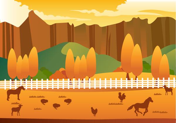 farming life vector illustration with cartoon style