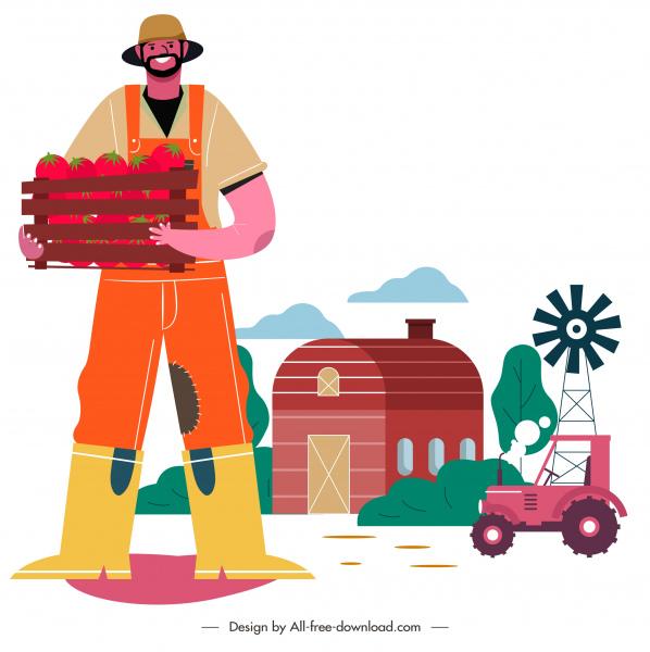 farming painting man crop farm elements sketch