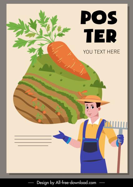 farming poster farmer carrot crop sketch cartoon character