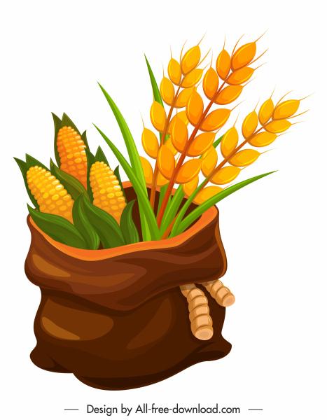 farming product icon classical corn grain sack sketch