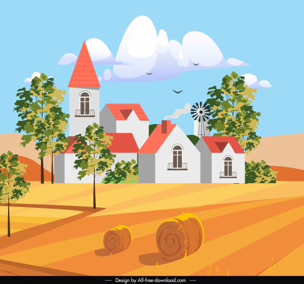 farming scene painting colorful houses field sketch