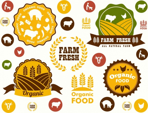 farming stamps templates flat colored classical decor