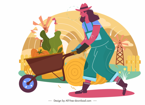 farming work painting farmer harvest poultry sketch