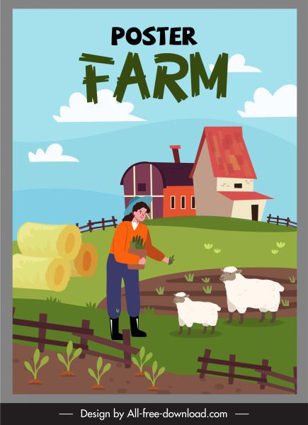 farming work poster colored cartoon sketch