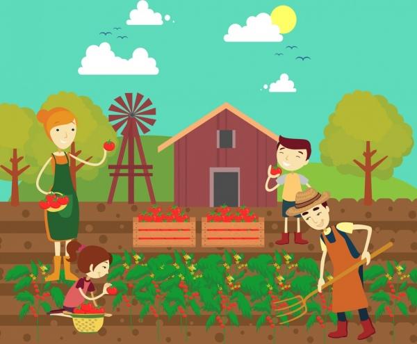 farming work theme family red tomato icons