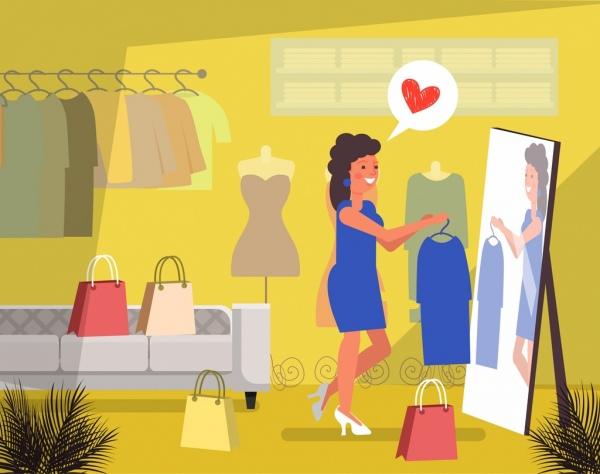 fashion background shopping lady icon cartoon design